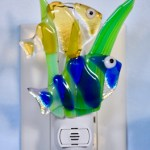 Fused glass clown fish nightlight