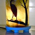 Peaceful fused glass egret lantern