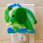 Fused glass green elephant nightlight