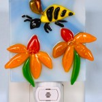 Fused Glass Bee Hovering Over Orange Flowers Nightlight