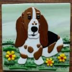 Fused Glass Basset Dog