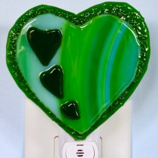 Fused Glass Green Hearts Nightlight