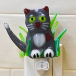Fused glass grey kitty nightlight