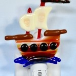 Fused glass pirate ship nightlight