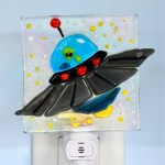 Fused glass alien in spaceship nightlight