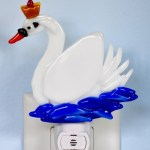 Fused Glass White Crowned Swan Nightlight