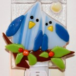 Fused Glass Two Happy Blue Birds Nightlight