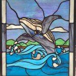 Stained Glass Humpback Breaching in Water