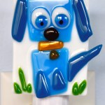 Fused Glass Blue Dog Nightlight