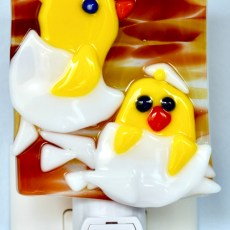Fused Glass Two Yellow Chicks Hatching Nightlight