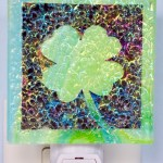 Fused Glass Green Four Leaf Clover Nightlight