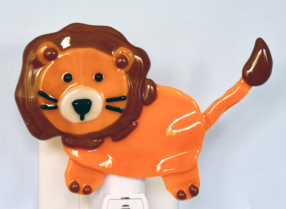 Fused Glass Orange Lion Nightlight