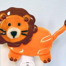 Fused Glass Orange Lion Nightlight