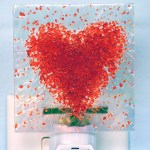 Fused Glass Red Heart Nightlight