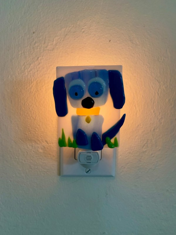 Fused Glass Blue Dog