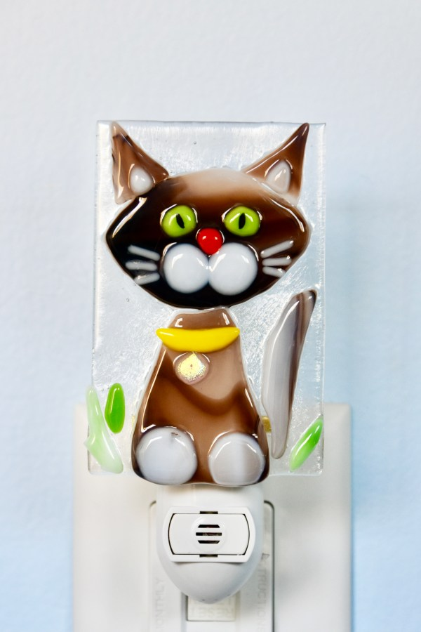 Cat Fused Glass Night Light