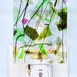 Fused Glass Green Confetti Nightlight