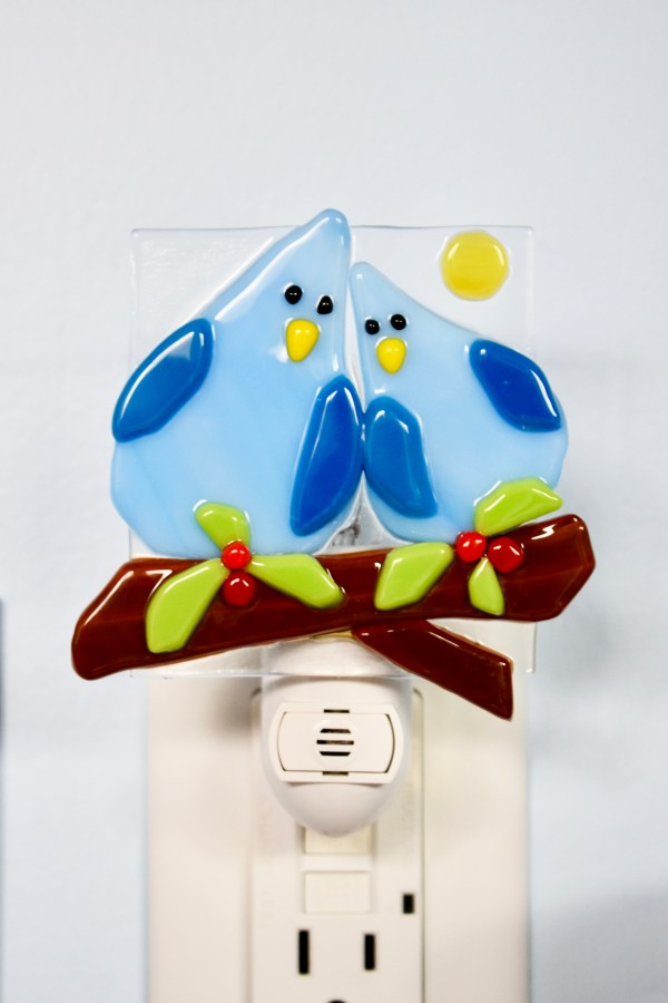 Lovebirds Fused Glass Night Light