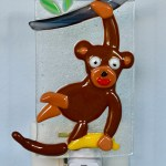 Fused Glass Brown Monkey Nightlight