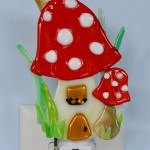Fused Glass Red Mushroom House Nightlight