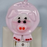 Fused Glass Pink Pig Nightlight