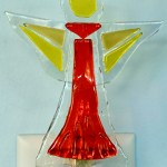 Fused Glass Red and Yellow Angel Nightlight