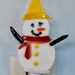 Fused Glass White Snowman Nightlight