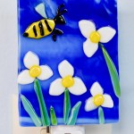Fused Glass White Flowers and Bee Nightlight