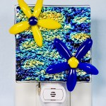 Fused Glass Yellow and Blue Flowers Nightlight