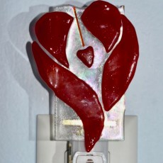 Fused Glass Love and Heart Nightlight