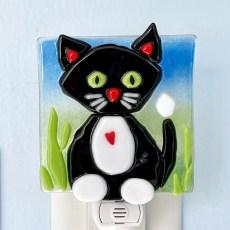 Black Kitty Fused Glass Night Light