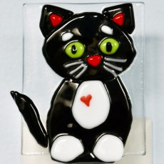 Black Kitty Fused Glass Night Light