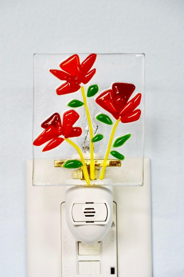 Poppy Flowers Fused Glass Night Light