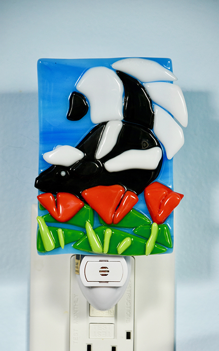 Cute fused glass black and white skunk in red poppies night light
