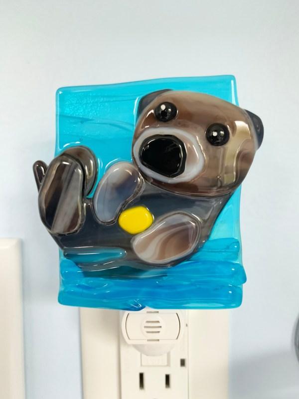Otter Fused Glass Night Light