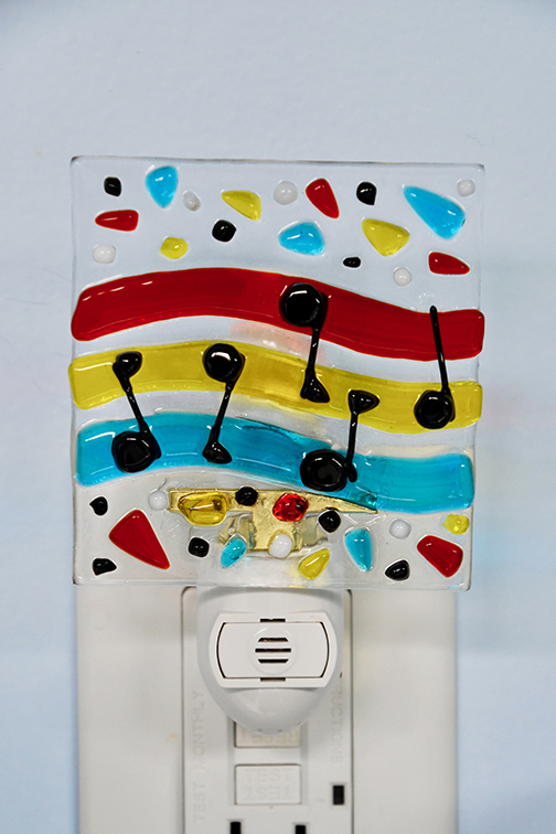 Fused Glass Musical Notes Night Light