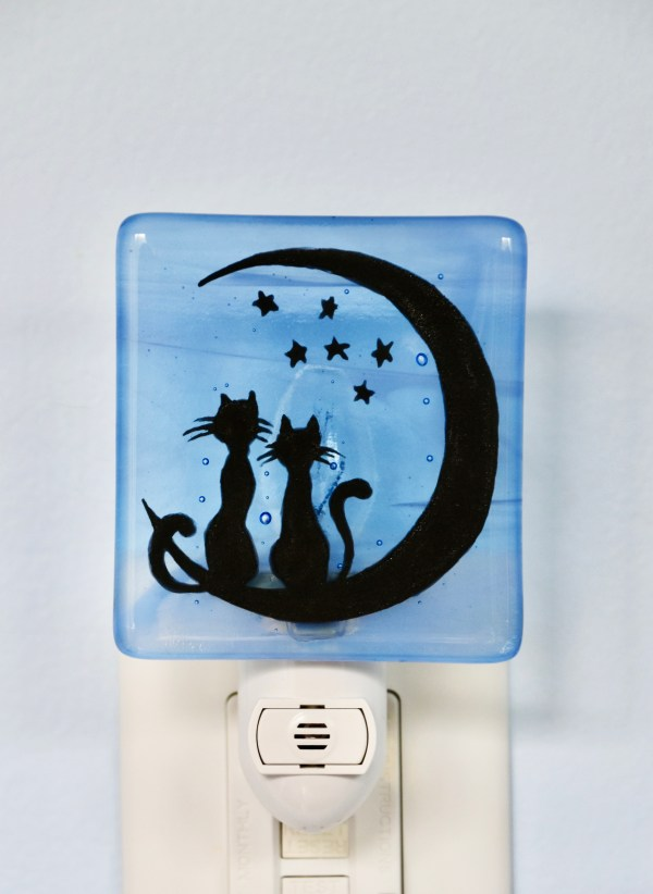 Cats on Moon Night Light