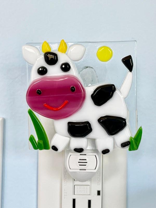 Cow Fused Glass Night Light