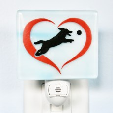 Dog in Heart Fused Glass Night Light