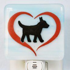 Small Dog in Heart Night Light