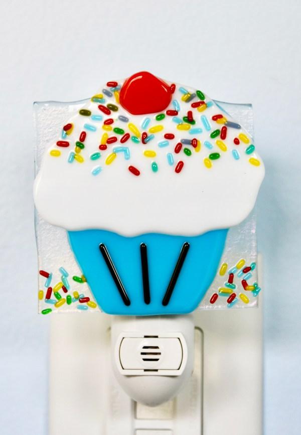 Fused Glass Cupcake Night Light
