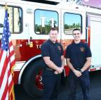Firefighters James McGowan (left) and Derek Maskalenko (right) at their graduation.