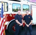 Firefighters James McGowan (left) and Derek Maskalenko (right) at their graduation.