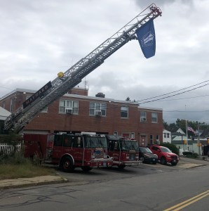 9/11 Remembrance Flag Fliers Over Apparatus