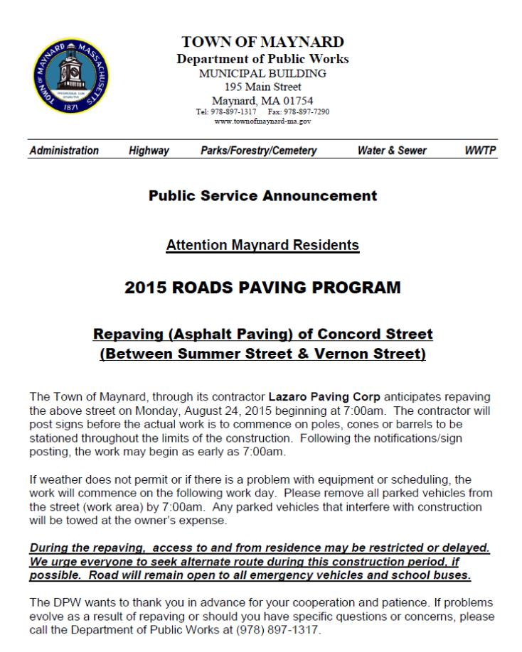 Concord Street Paving to Continue