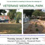 Veterans' Memorial Park Redesign Discussion – January 7th