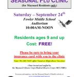 Resident Flu Vaccine Clinic Set for September 24th at Fowler School