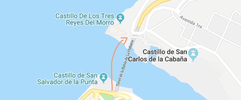 Mapa Tunel de la Habana Fortaleza San Carlos de la Cabaña Castillo El Morro