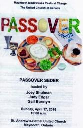 Maynooth Madawaska Passoveer Seder Service 2016 04 a