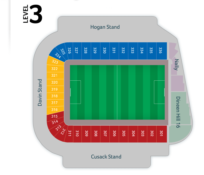 Croke Park seating plan Level 3.